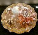 Round Brass Pooja Thali Set, Dimension: 8inch