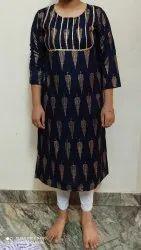 Rayon Knee Long Women's Kurta