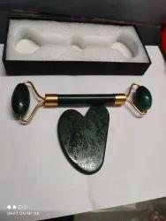 Green Gemstone Massager With Gua Sha