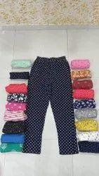 Lycra Cotton Jeans & Trousers Printed Capri Night Wear