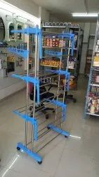 blue ss & pvc Cloth stand, For Home, Size: Standard Size