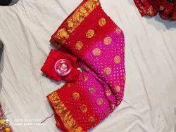 Red Bandhani Banarasi Saree