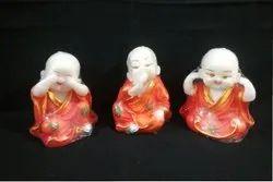 Orange Polyresin Buddha Monks LC06, For Interior Decor