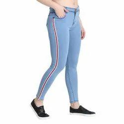 ZXN Clothing Women Premium Stretchable Slim Fit Striped White Denim Jeans