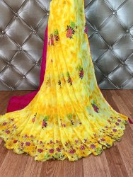 Party Wear Border Embroidery Work Saree, 6.3 m (with blouse piece)