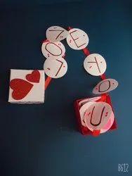 Square Red Love Box Card, Size/Dimension: 12x12x12 Cm