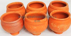 Red Wheel Throwing Terracotta Ice Cream Cup