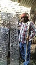 Steel finish Stainless Steel Laser Cut Door Grill