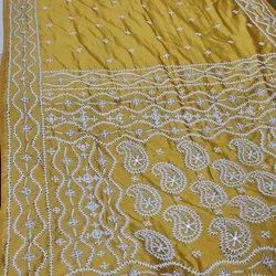 Embroidered SUB Gujarati Hand Katha Stitch Blended Bangalore Silk Saree, 6.3 M ( With Blouse Piece)