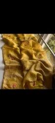 Casual Wear Silk Linen Embroidery Work Sarees, 6.3 m (with blouse piece)