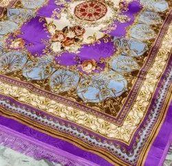 Rectangular Brown Chain Stitch Carpet, For Home