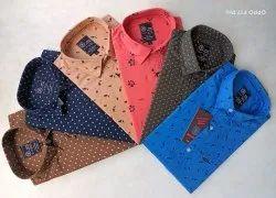 Slim Blue Bond Cotton Printed Shirt, Size: m To Xxl