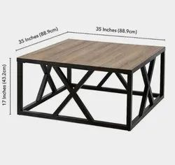 S a Iron And Wooden Dining Table