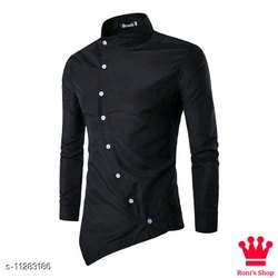 Black Plain Fancy Shirts For Men, Size: Medium