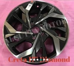Black Polished Hyundai Creta Car Alloy Wheel, Size: 17 Inch Diamond Cut