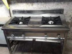 Polished LPG Two Burner Cooking Range, For Hotel