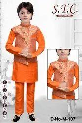 Printed Boys Ethnic Jacket Kurta Suit, Size: 1-10