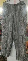 Hidaman Green Hand Block Printed Ladies Pants, 160, Waist Size: Free size