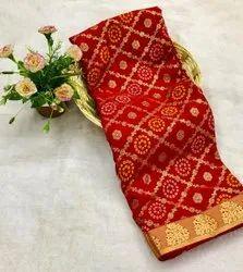 Floral Print Border Chiffon Silk Saree, 6 m (With Blouse Piece)