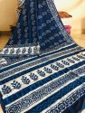 Bagru Hand Block Printed Indigo Dabu Print Cotton Mulmul Saree With Blouse Piece