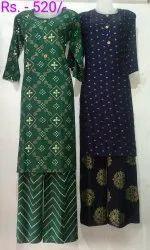 Cotton Ladies Kurti With Palazzo, Size: Free Size