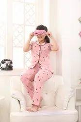 Pink Kids Modern Printed Night Suit