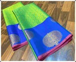 MM brand Wedding Wear Kora Muslin Silk Saree, 6 m (with blouse piece)