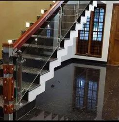 Wooden And Glass Railing