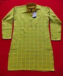Cotton Knee Long Woven Designer Kurta, Size: 34 To 42