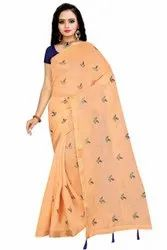 Formal Wear Cotton Saree, With Blouse, 6.3 m