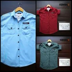 Cotton Plain Branded Two Pocket Shirt