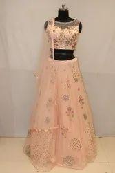Net Attractive Peach Color Function Wear Designer Readymade Lehenga Choli