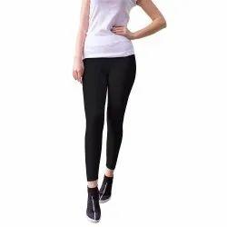 Straight Fit Plain Black Hosiery Leggings