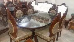 Khalid wood Dimensions: 72x36x30 Wooden carved dining table