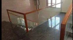 Wooden Railing With Glass