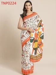 Casual Wear Printed Cotton Saree, With Blouse, 5.5 m