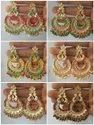 10 Colors Alloy Meenakari Kundan Pearl Earrings