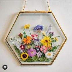 Glass and Brass Golden Hexagonal Photo Frame, For Decoration, Size: 6x6 Inches