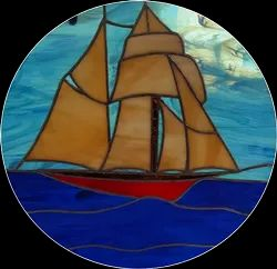 Black Sail Boat Stained Glass, For Decoration, Thickness: 3 Mm