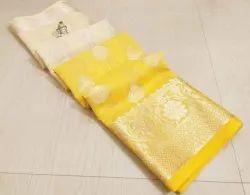 6.3 m (with blouse piece) Banarasi Pure Linen Soft Saree