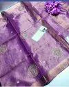 Tissue Linen Hand Moti Work Sarees