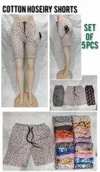 Ladies Cotton Shorts, Girl Cotton Hoseiry Shorts, Women Printed Shorts, Girl With Pocket Shorts