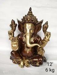 Brown Moradabad Brass Ganesha Statue, Size: 12