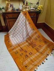 Ikkat Checks Handmade Cotton Silk Sarees