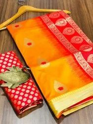 Softy Silky Litchi Silk Saree, With blouse piece