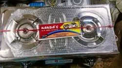 Stainless Steel Vs2 Lpg Gas Stove, Size: Two Burner