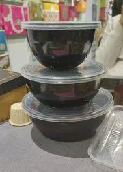 500 ML Round  Black Plastic Container