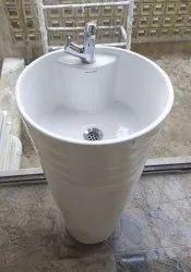 Ceramic White Free Standing Wash Basin, For Bathroom