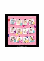 Baby 12 month photo frame, For Home, Size: 14x14 Inch