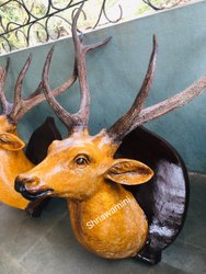 Fiber deer face statue hanging